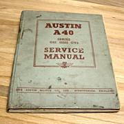 Vintage Austin A 40 Service Manual Book