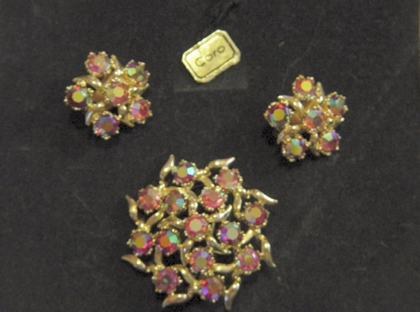 Vintage Coro Chaton AB Stones Brooch And Earrings