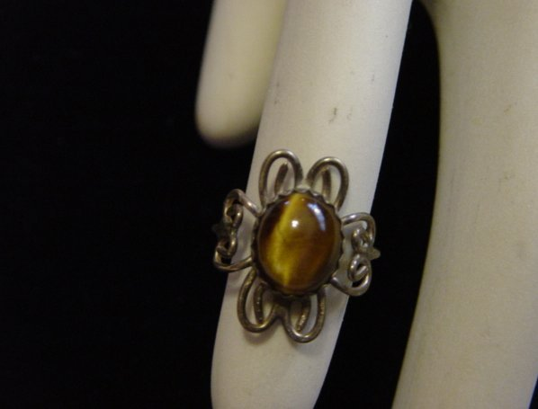 Vintage Oval Shape Tiger Eye Sterling Ring