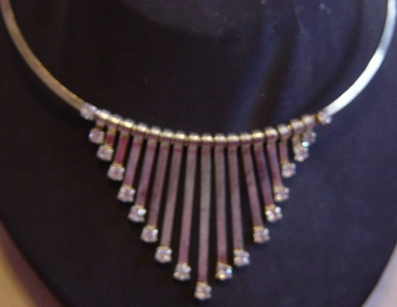 Silver Tone And Stones Necklace