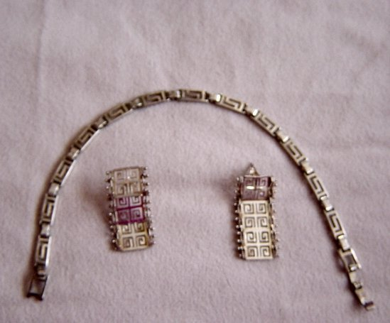 Silver Link Bracelet And Earrings