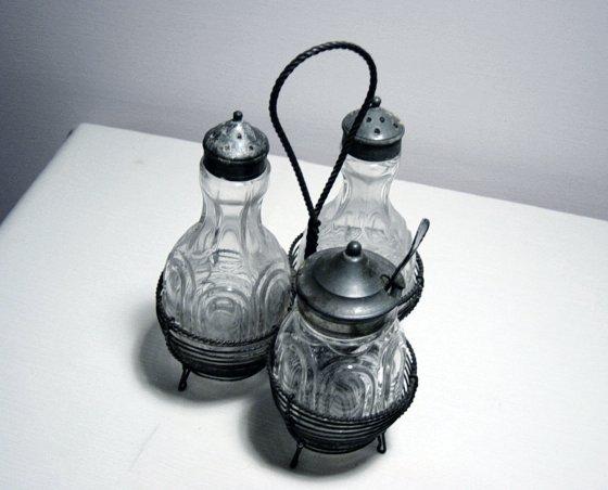 Antique Salt/Pepper Mayo Or Jam Jar Set In Wire Holder