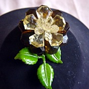 Vintage Western Germany  Enamel And Plastic Flower Brooch