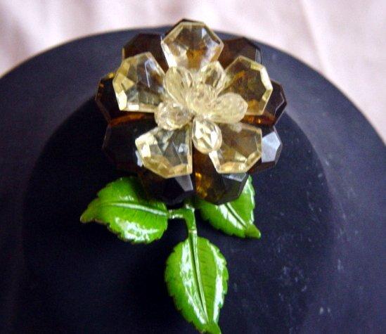 Vintage Western Germany  Enamel And Plastic Flower Brooch