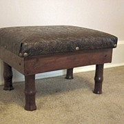 Vintage Foot Stool With Leather Top
