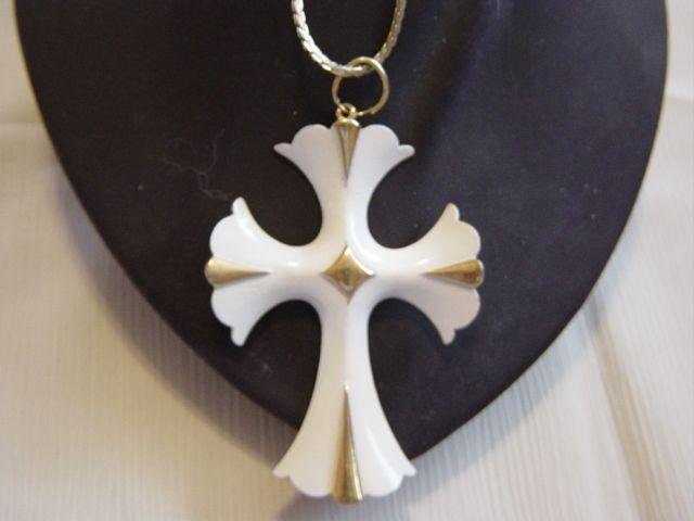 White Enameled Cross Pendent Necklace