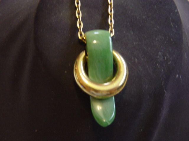 Trifari Jade Green Pendent Necklace