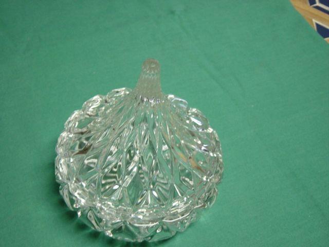 Vintage H.F.C. Clear Pressed Glass Powder Dish