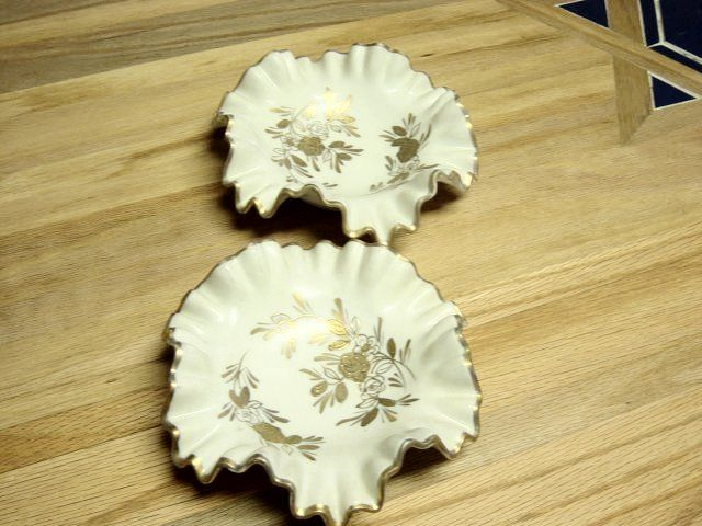 Vintage RG Heavy Nut Or Mint Dishes Gold On Ivory