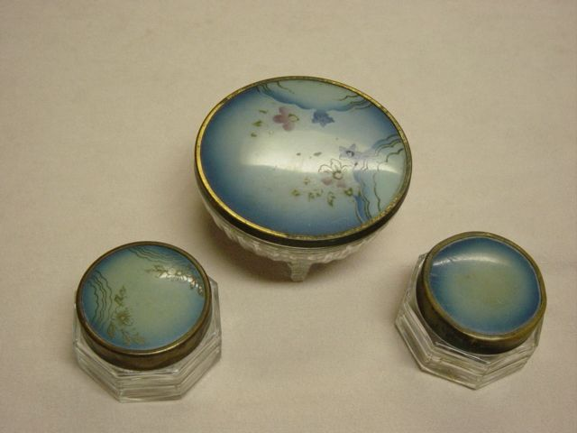 Vintage Powder And Cream Dresser Set With Hand Painted Lids
