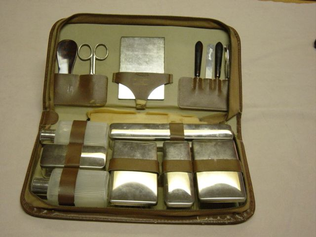 Vintage Simulated Leather Chic West Germany Mans Travel Set