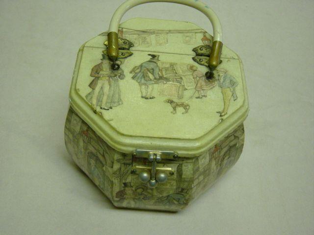 Vintage Decoupage On Wood Box Purse