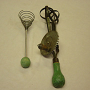 Vintage Green Handle Mixers And Beaters