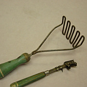 Vintage 1950's Green Wood Handle Masher And Opener
