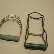 Vintage Green Wood Handles Jar Lifter And Dough Knife