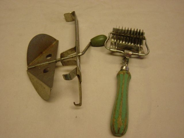 Vintage Mixer And Slicer Green Handles