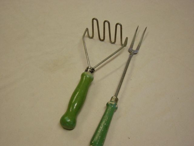 VIntage Green Handle 1950's Masher And Meat Fork