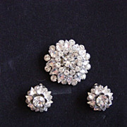 Vintage Judy Lee Rhinestone Brooch / Earrings Set