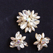 Vintage Judy Lee Navette And Rhinestone Brooch And Earrrings Set