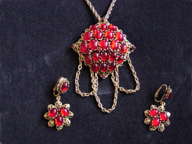 Firey Red Judy Lee Necklace And Earrings