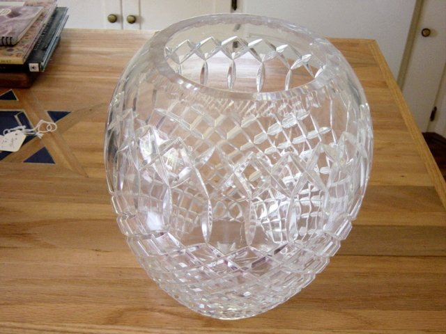 Vintage Genuine Hand Cut Lead Crystal Large Heavy Vase
