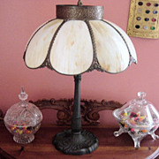 Vintage Panel Art Glass Mellon Shape Table Lamp