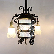 Vintage Combination Gas/Electric Hanging Light Fixture