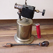 Vintage Clayton And Lambert Brass Blow Torch With Iron