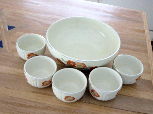 Vintage Hall's Kitchenware Orange Poppy Fruit Bowl And Serving Bowls