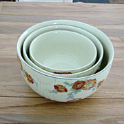 Vintage 3 Piece Set Of Hall's Orange Poppy Mixing Bowls