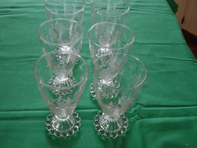Grape Design Etched Candle Wick Glasses