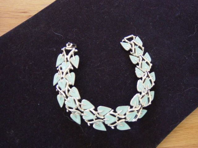 Coro Baby Blue Enamel On Silver Tone Bracelet