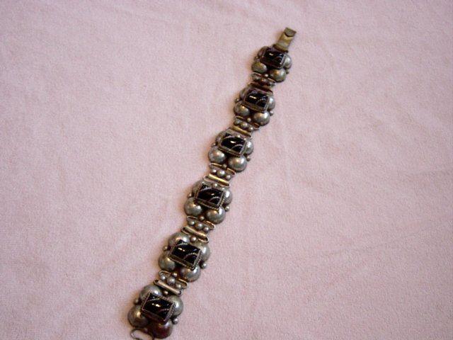Vintage Mexico Silver Onyx Link Bracelet
