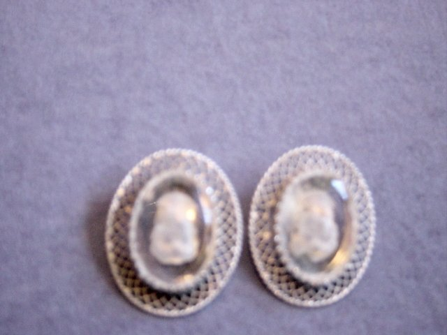 Whiting And Davis Co. Clear And Frosted Cameo Clip On Earrings