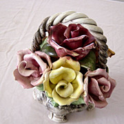 Capodimonte Basket Of Roses With Handle