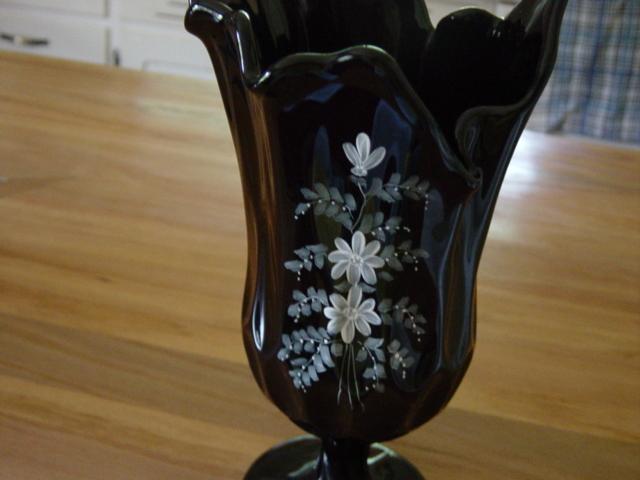 Vintage Fenton Black Ebony  Glass Vase