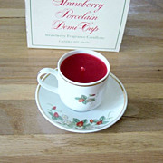 Vintage Avon Strawberry Porcelain Demi Cup Candlette
