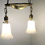 Vintage Hanging Light With Frosted Shades