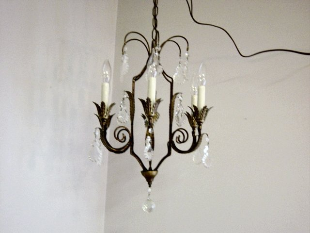 Vintage Italy 6 Bulb Candelabra Chandelier Prism Loaded