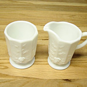 Vintage Westmoreland Milk Glass Grape Pattern Cream And Sugar