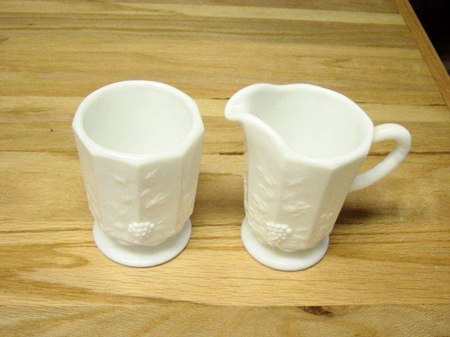 Vintage Westmoreland Milk Glass Grape Pattern Cream And Sugar