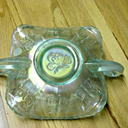 Fenton Frosted Light Blue Green Butterfly Double Handle Nappy
