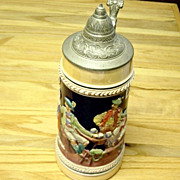 Vintage German Large Beer Stine With Lid