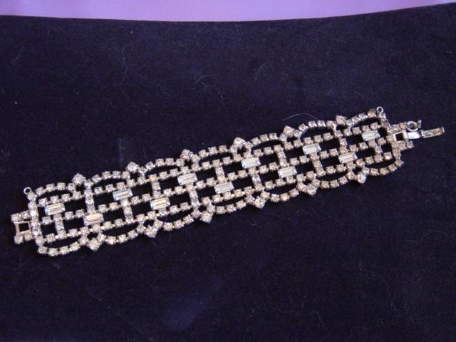 Vintage Wide Rhinestone Bracelet
