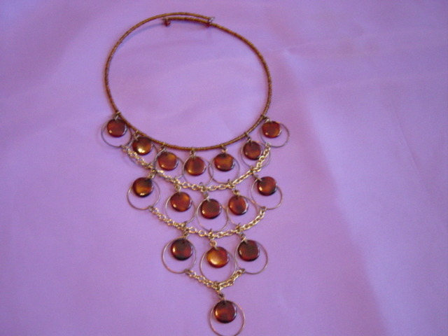 Brown Disk And Seed Beads Choker  Drop Disk Necklace
