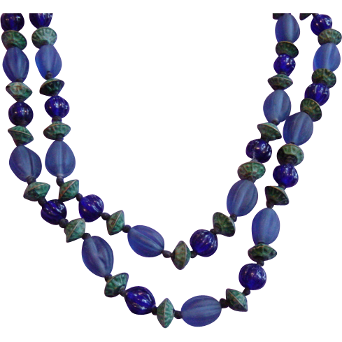 Vintage Glass And Metal Beads Necklace