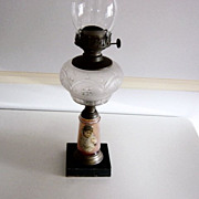 Vintage Portrait Oil Lamp With Frosted Glass Bowl