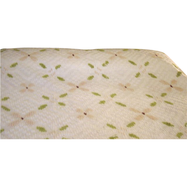 Vintage Twin Chenille Green And Tan On White Bedspread