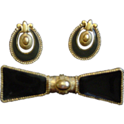 Black And Gold Brooch And Earrings Set