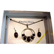 Charles Klein Blood Red And Rhinestone In Gold Necklace /ER Set